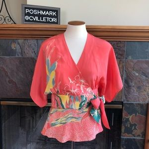Tibi 100% Silk Short Kimono Wrap Blouse Size Small